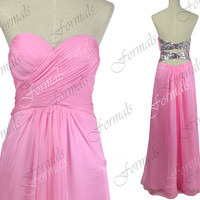 Strapless Sweetheart Long Chiffon Pink Prom Dresses, Pink Homecoming Dresses, Wedding Party Dresses, Formal Gown