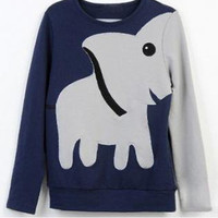 A071023 Fun elephant pattern long-sleeved pullover sweater leisure828