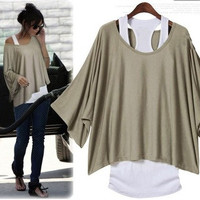L 071304 Fashion, bat sleeve, loose big yards T-shirt828