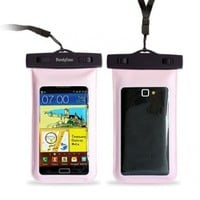 "DandyCase Pink Waterproof Case for Apple iPhone 5, Galaxy S4, HTC One, iPod Touch 5 - Also fits other Large Smartphones up to 5.3"" Including Galaxy S3, HTC One X/X+, Droid RAZR/MAXX, Nexus 4, EVO 4G LTE, Droid Incredible, LG Optimus G, Nokia Lumia, Droid D"