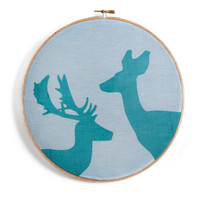 Hoop art, turquoise artwork, deer and doe
