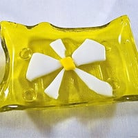 Yellow and White Daisy Mini Glass Tray by Design4Soul