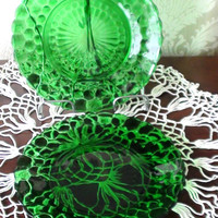 Fostoria Green Emerald  Plates Salad set of 2  Vintage Handblown Glass