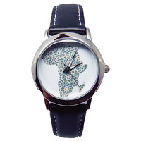 Africa Watch, Women's Black Leather Watch, Custom Watch