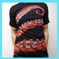 Octopus Tshirt Tentacle tee Octohug Black Cotton by sharpshirter