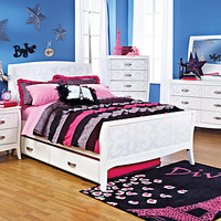 Belle Noir  White 5 Pc Full Bedroom