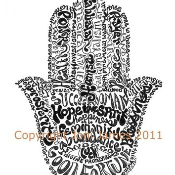Hamsa art jewish art calligraphy drawing from Hebrew calligraphy art
