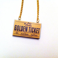 Golden Ticket - Willy Wonka - Necklace