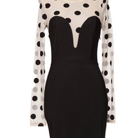 Dot So Hot Mesh Sleeve Polka Dot Dress - Black + Nude -  $59.00 | Daily Chic Dresses | International Shipping
