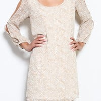 Magnolia Lane Slit Sleeve Shift Dress - Khaki + Ivory -  $41.00 | Daily Chic Dresses | International Shipping