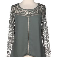 Easy on the Eyes Lace Sleeve Blouse - Olive -  $40.00 | Daily Chic Tops | International Shipping