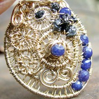 Gold Filled Wire Wrapped Pendant Druzy Diamond, Faceted Sapphire Beads