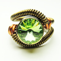 steampunk ring -  swarovski crystal - steampunk rings - handmade keoops8