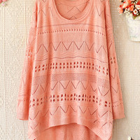 A 081903 b Loose round neck long-sleeved sweater hollow26