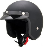 DOT Approved Motorcycle Helmet 3/4 Open Face Flat Matte Black Retro Vintage EVOS Sport Street Bike Cruiser Scooter Snowmobile ATV Helmet - Medium:Amazon:Automotive