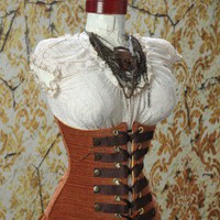 Waist 37-39 Copper Steampunk Wench Corset | damselinthisdress - Clothing on ArtFire