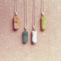 Gemstone Necklace Birthstone Necklace Gemstone Tube Pendant Rock Arrow Gems