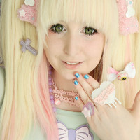 TWO 2 Cute Kawaii Pastel Goth Fuzzy Bone Hair by KreepyKawaii