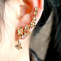 Butterfly Chasing Flowers Wrapping Ear Single Cuff | LilyFair Jewelry