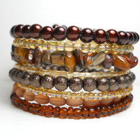Tigers Eye Brown and Tan Memory Wire Bracelet Stacked Wrap Bracelet