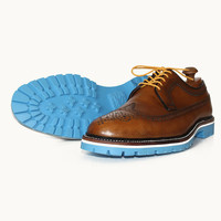 Cognac Brown Longwing, White Mid-Sole and Baby Blue Commando Sole
