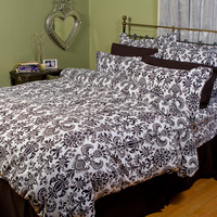 Damask Duvet Cover | Black and White Bedding by Sin In Linen