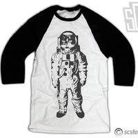 Space Kitty Baseball Tee - Cat Raglan Baseball Shirt 126
