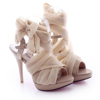 High Heel Chiffon Lace Up Sandals for Women 061626 A