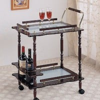 Traditional Style Serving Cart with Frosted Glass Top