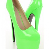 Neon Green Patent Faux Leather Pump Heels