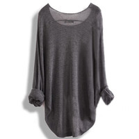 A 083101 Long-sleeved knit shirt blouse hollow