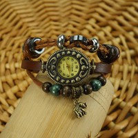 BADE Unisex Brown Leather Wrap Around Beaded Elephant Bracelet Watch