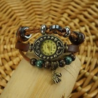 KANO BAK Unisex Brown Brown Color Quartz Fashion Leather Wrap Around Beaded Elephant Bracelet Watch