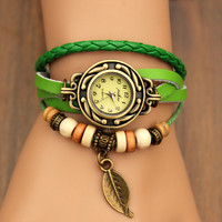 Fruit Green Vintage Metal Leaf Leather Wrap Watch