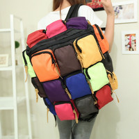 Multi Pocket Fluorescence Color Travelling Backpack