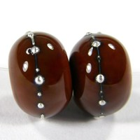 Handmade Lampwork Beads Shiny Light Brown Opaque Glass Silver 444gfs