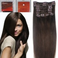 "18"" Clip in human hair extensions, 10pcs, 100g, Color #2 (Dark Brown)"