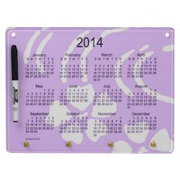 Purple Lotus Flower 2014 Calendar Dry Erase Board