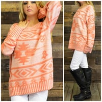 Oak Park Coral Aztec Oversized Sweater