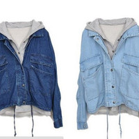 L 073003y Detachable hooded casual jacket denim, two pieces