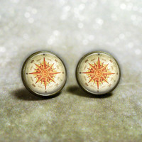 Compass Earrings : Post Earrings. North South East West. Studs. Art. Girls Earrings. Bronze Jewelry. Handmade Jewelry. Jewellery. Lizabettas