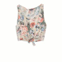 AE Effortlessly Chic Printed Chiffon Crop Tank | American Eagle Outfitters