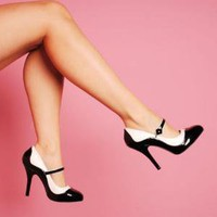 Bordello Shoes Tempt Two-Tone Maryjane in Black and White with 4 1/2&quot; Heel
