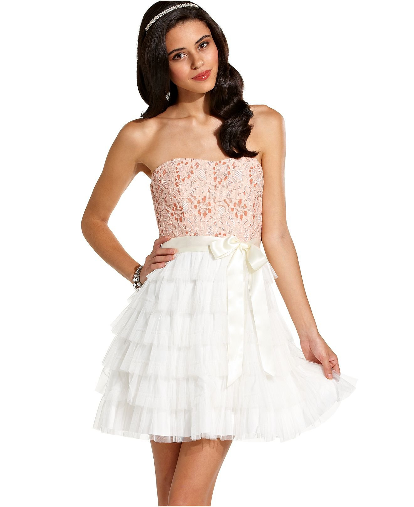 ... , Strapless Lace Tiered A-Line - Juniors Homecoming Dresses - Macy's
