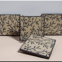 Ceramic Drink Coasters Set of 4 Black Tan Twigs