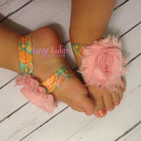 Baby Barefoot Sandals...Paisly and Pink Barefoot Sandals..Newborn Sandals..Toddler Sandals