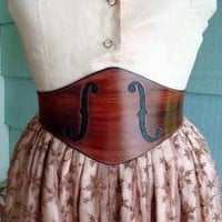 The MUSEWide Mahogany Violin FHoles Leather by ContrivedtoCharm