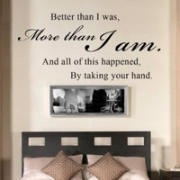 All Of This Happened By Taking Your Hand - Romantic Couples Quote Wall Decal Vinyl Sayings Bedroom Decor (Black, Medium):Amazon:Home & Kitchen
