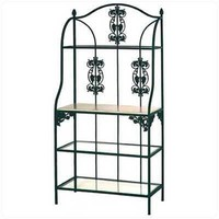 Vineyard Wrought Iron Bakers Rack Metal Finish: Aged Iron, Wood Finish: Bleached
