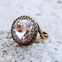 Swarovski Crystal Ring  Crown Victorian  Clear by MASHUGANA
